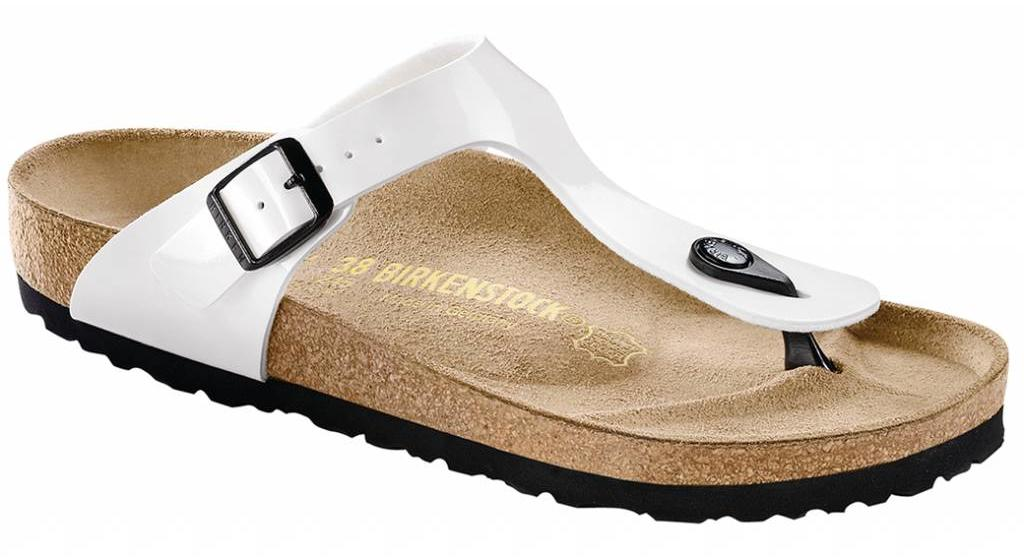 Birkenstock Gizeh white patent, black sole in 2 withds