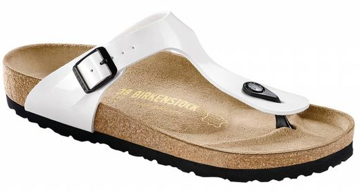 Birkenstock Birkenstock Gizeh white patent, black sole in 2 withds