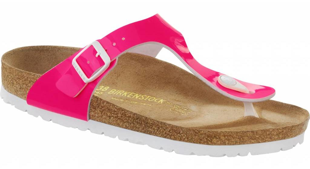 Birkenstock Gizeh patent neon pink, in 2 withds