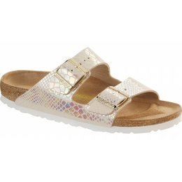 Birkenstock Arizona shiny snake cream in 2 breedtes