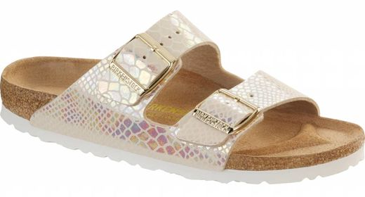 Birkenstock Birkenstock Arizona shiny snake cream in 2 breedtes