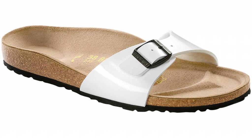 Birkenstock Madrid white patent, black sole in 2 widths
