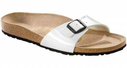 Birkenstock Birkenstock Madrid white patent, black sole in 2 widths