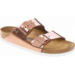 Birkenstock Arizona leather metallic copper, soft insole and white sole