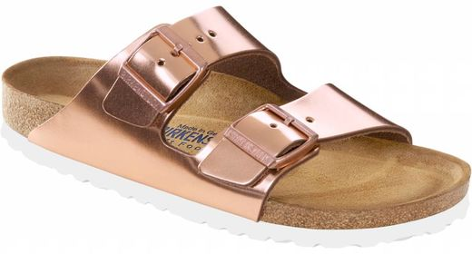 Birkenstock Arizona metallic copper leather with soft insole and white sole