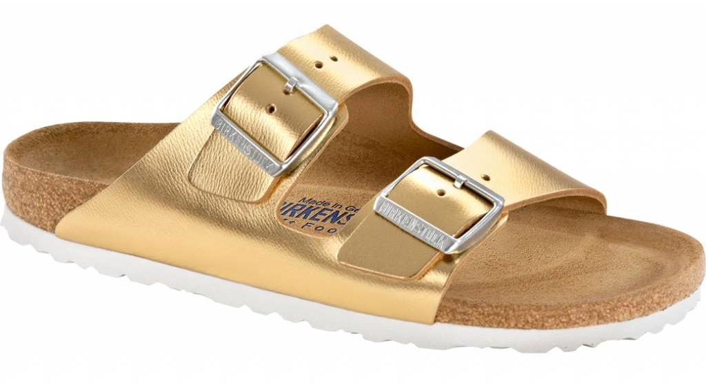 Birkenstock Arizona liquid gold leather soft footbed