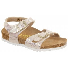 Birkenstock Rio kids shiney snake cream