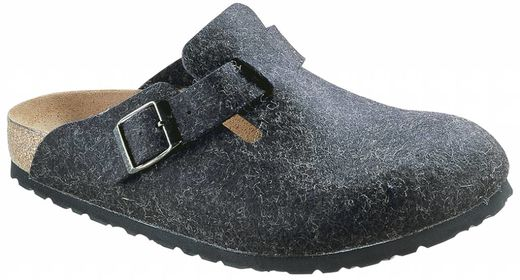 Birkenstock Birkenstock Boston wolvilt antraciet in 2 breedtes