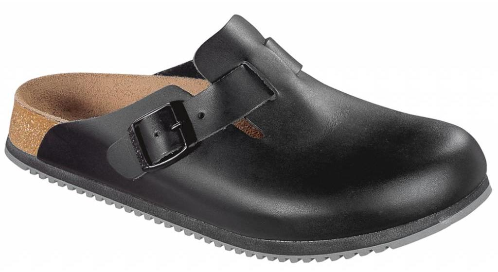Birkenstock Boston zwart leer, anti slip zool, in 2 breedtes