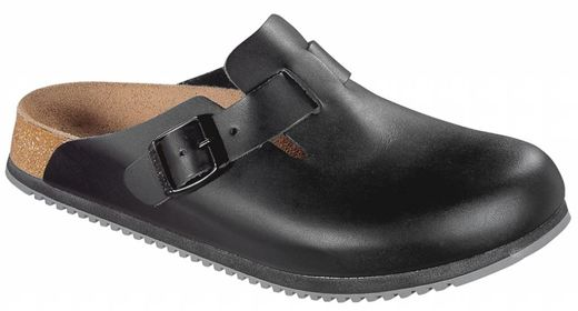 Birkenstock Birkenstock Boston zwart leer, anti slip zool, in 2 breedtes
