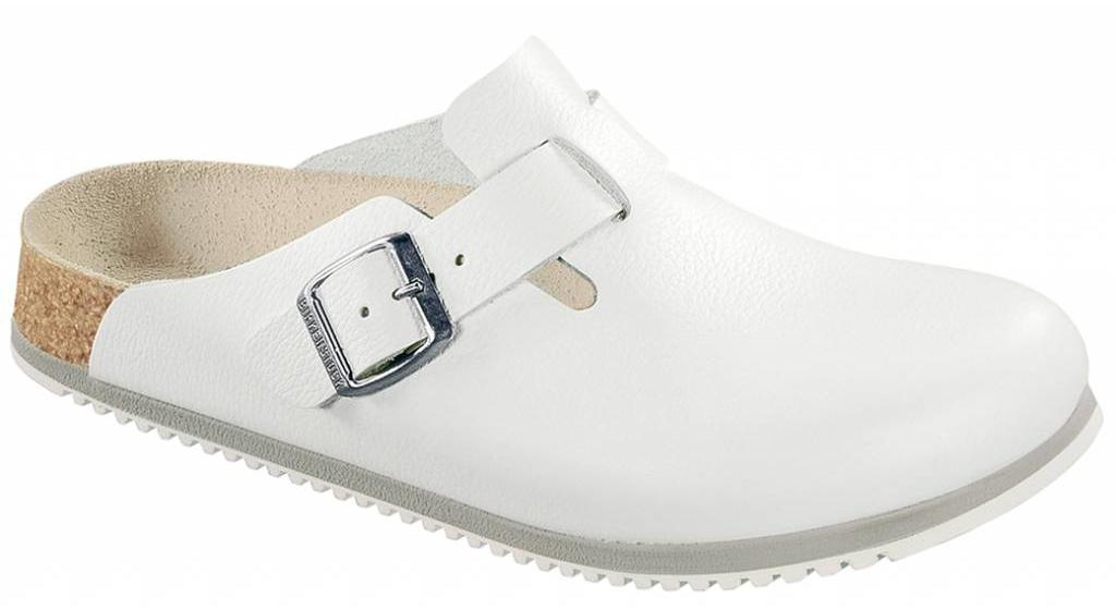 Birkenstock Boston white leather, anti-slip sole, in 2 widths