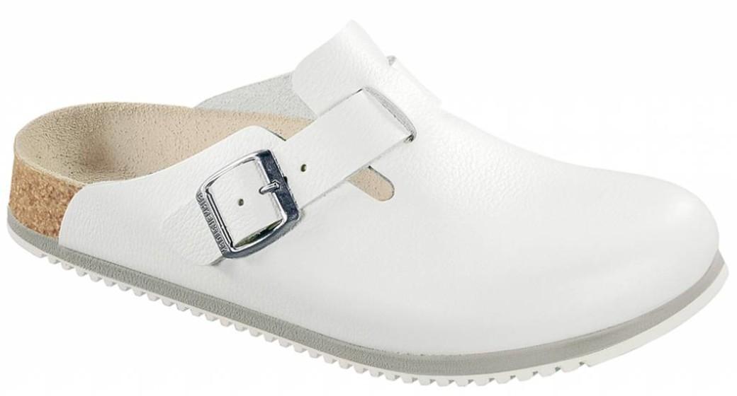 Birkenstock Boston white leather, anti-slip sole