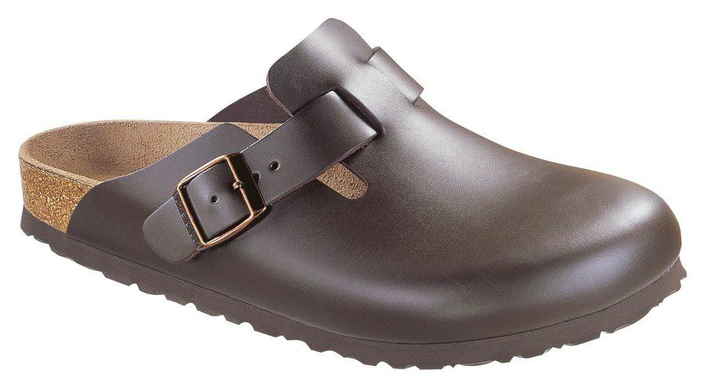Birkenstock Boston donkerbruin leer in 2 breedtes