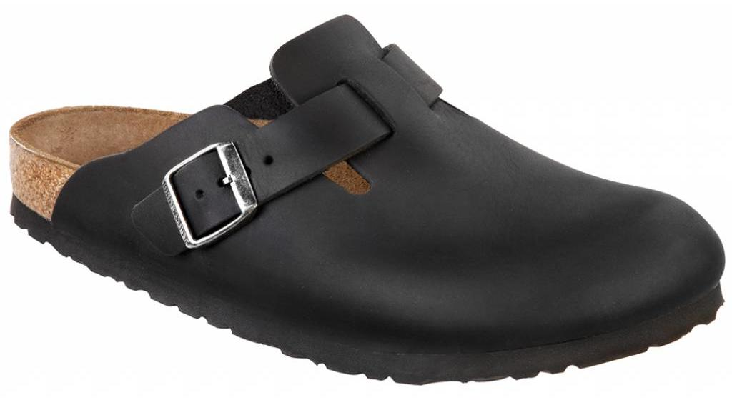 Birkenstock Boston geolied zwart leer in 2 breedtes