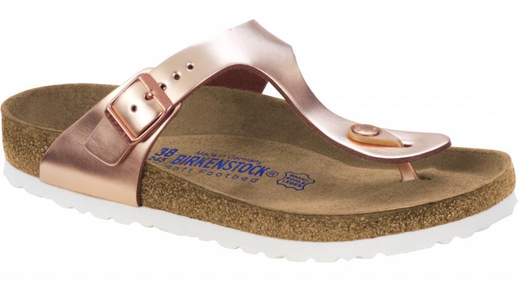 Birkenstock Gizeh metallic copper met zacht voetbed in 2 breedtes