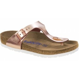 Birkenstock Gizeh metallic copper leer, zacht voetbed in 2 breedtes
