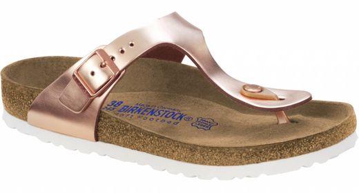 Birkenstock Birkenstock Gizeh metallic copper leer, met zacht voetbed