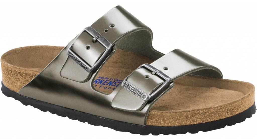 Birkenstock Arizona metallic antraciet met zacht voetbed in 2 breedtes