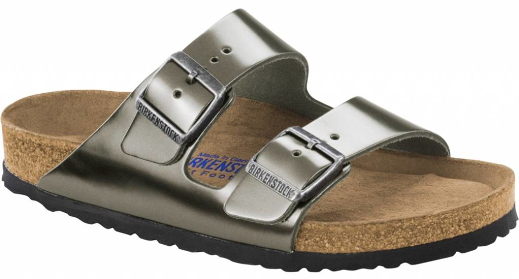 Birkenstock Arizona metallic antraciet leather with soft footbed in 2 widths