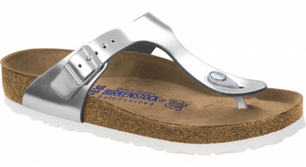 Birkenstock Gizeh metallic zilver leer  zacht voetbed