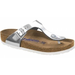 Birkenstock Gizeh metallic silver leather, soft footbed