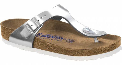 Birkenstock Birkenstock Gizeh metallic zilver leer, zacht voetbed