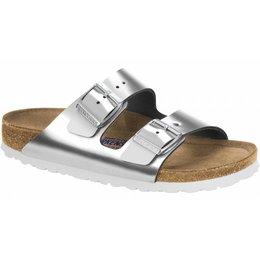 Birkenstock Arizona metallic zilver met zacht voetbed