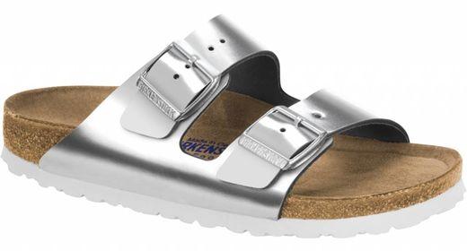 Birkenstock Birkenstock Arizona metallic zilver met zacht voetbed