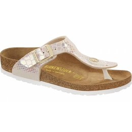 Birkenstock Gizeh kids shiney snake cream
