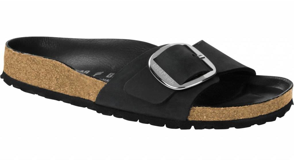 Birkenstock Madrid big buckle zwart geolied leer