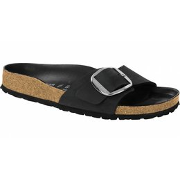 Birkenstock Madrid big buckle black oiled leather