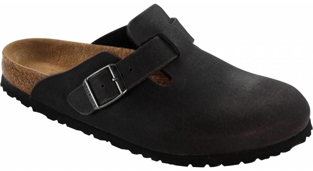 Birkenstock Boston vegan antraciet in 2 breedtes