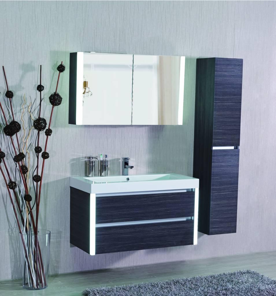 Sem bellagio spiegelkast met led 100x16x60cm dark oak for Spiegelkast 60 cm badkamer