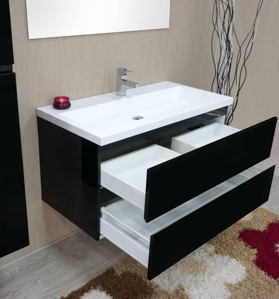 Home / Badmeubelen / Sem Janga badmeubel 100x51cm hoogglans zwart/wit ...