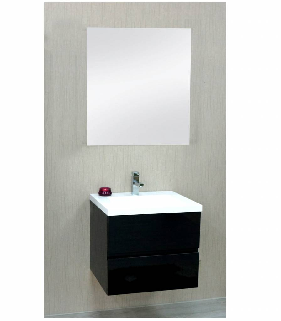 Sem Janga badmeubel 60x51cm hoogglans zwart/wit blad exclusief spiegel ...