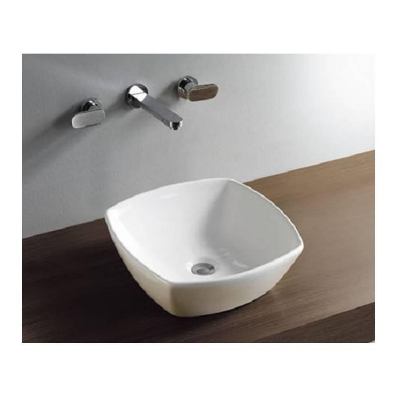 Maxxo sera wastafel opbouwkom 420x420x135mm hoogglans wit badkamer co - Wastafel rechthoekig badkamer ...