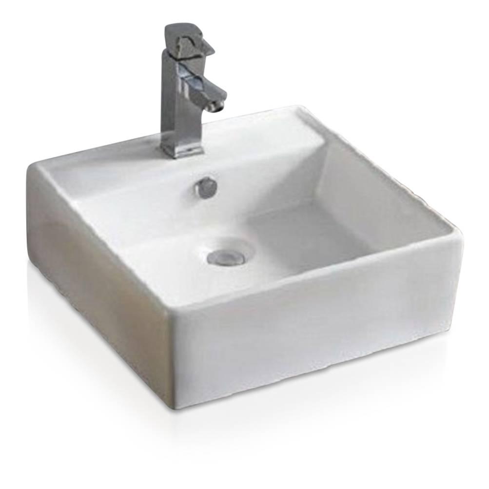 Maxxo medina 41 wastafel opbouwkom 410x410x165mm hoogglans wit badkamer co - Wastafel rechthoekig badkamer ...