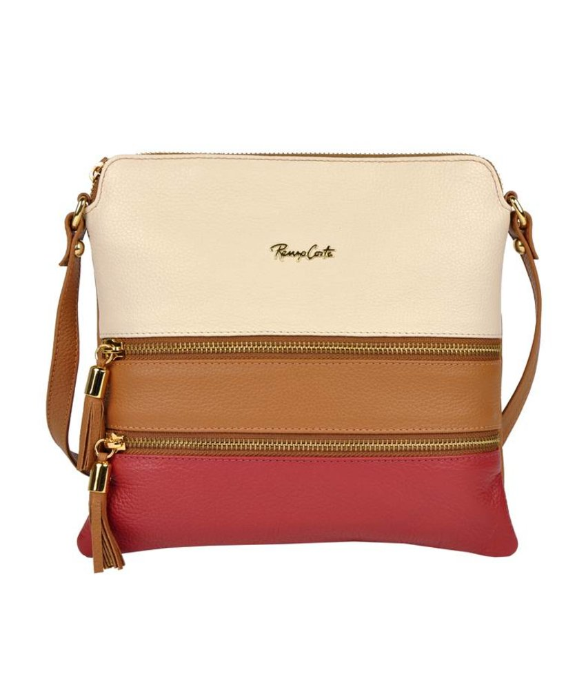 Renzo Costa 1701  - crossbody bag - white brown red