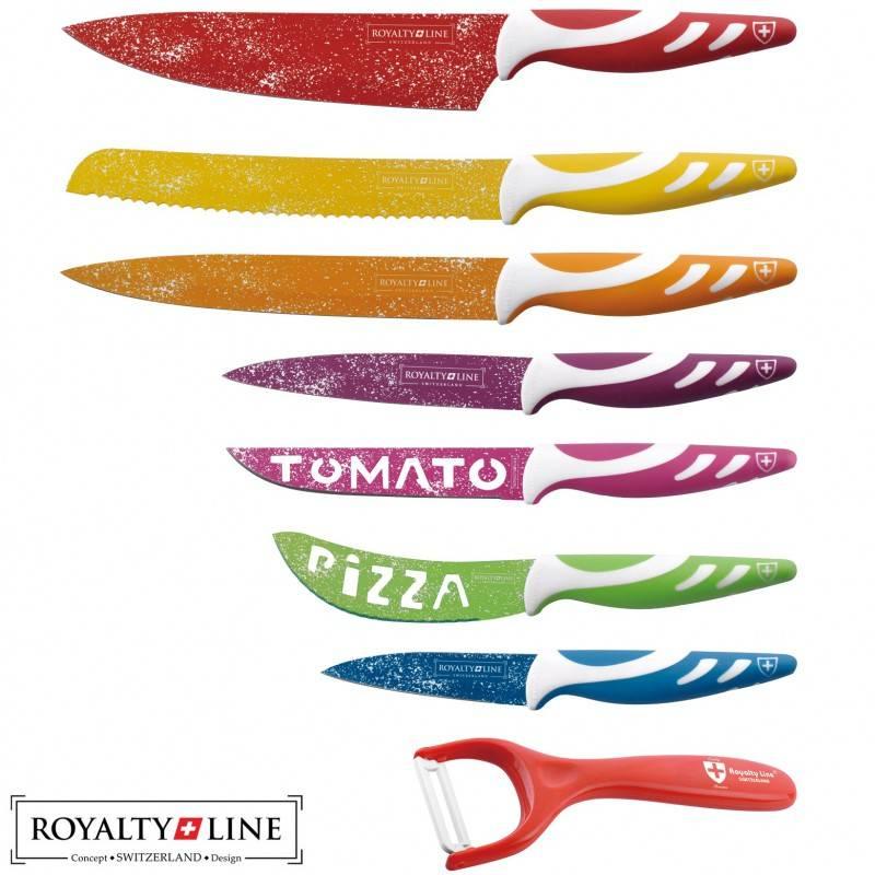 Dagaanbieding - 8-delige kleurrijke Royalty Line Switzerland Messen dagelijkse koopjes