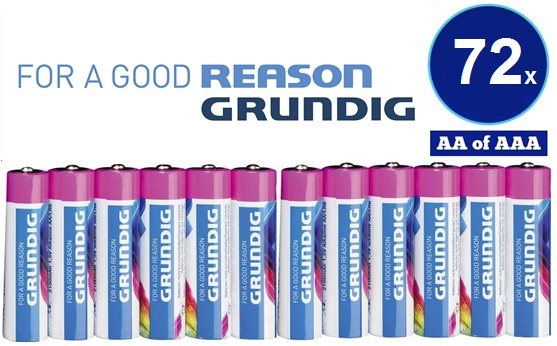 Dagaanbieding - 72x Grundig Alkaline POWER ++ AA of AAA batterijen dagelijkse koopjes