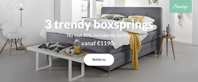 Nieuw bij Lusanna.nl: Sunday boxsprings v.a. €1.990,-