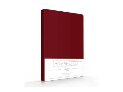 Romanette Kussenslopen - Katoen - Bordeaux - 2 stuks