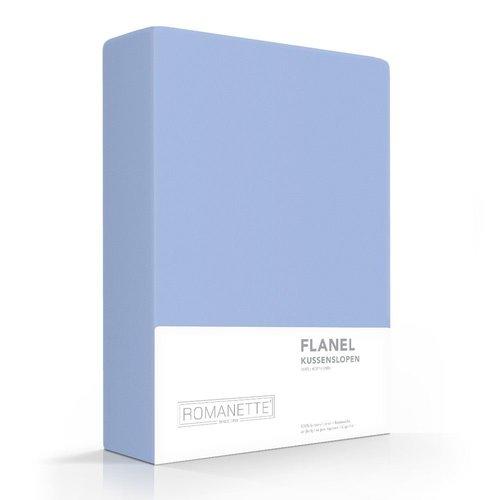 Romanette Kussenslopen - Flanel - Blauw - 2 stuks