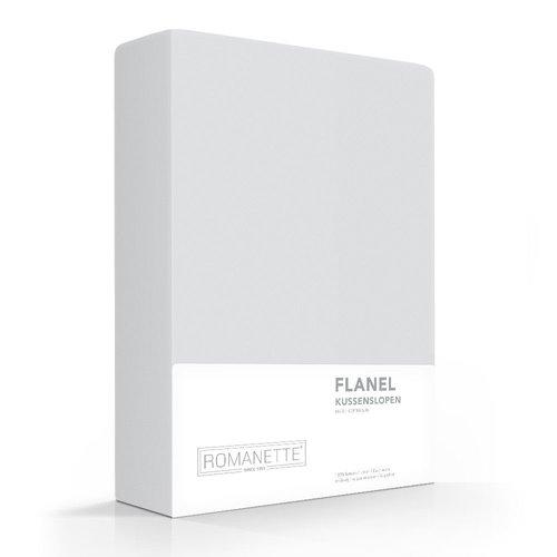 Romanette Kussenslopen - Flanel - Zilver - 2 stuks