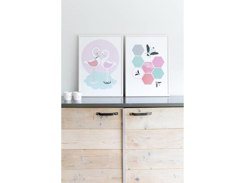 Sparkling Paper poster flamingo love
