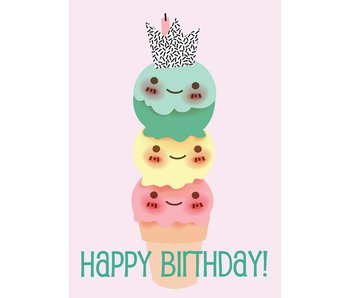 Sparkling Paper 10 cards happy birthday icecream