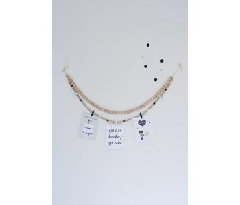 Sparkling Paper wooden beads garland black white