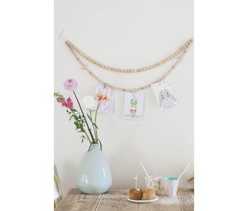 Sparkling Paper wooden beads garland pink