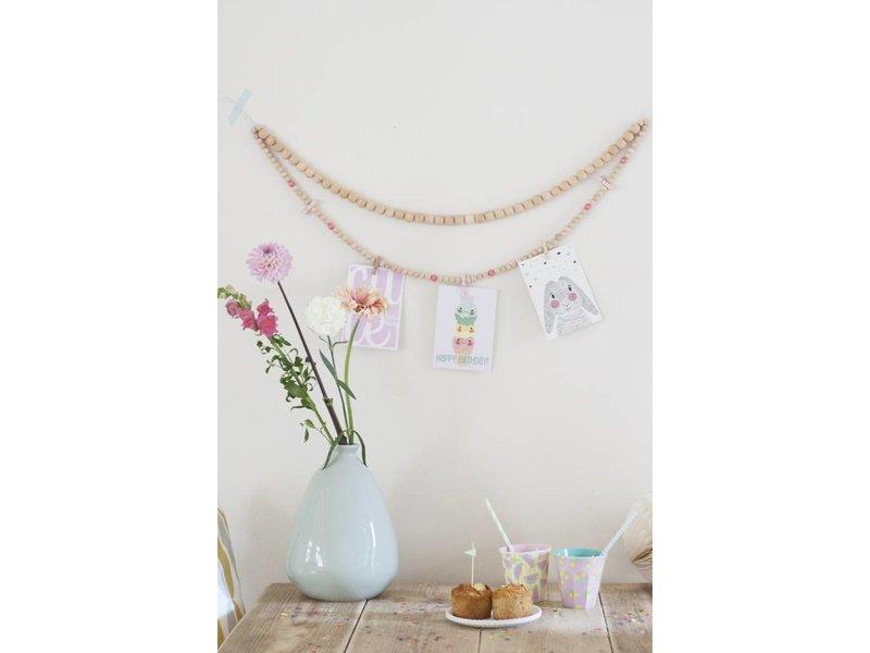 Sparkling Paper kralenketting roze