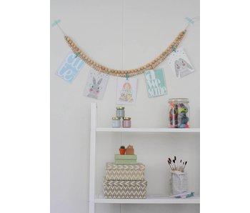 Sparkling Paper wooden beads garland green